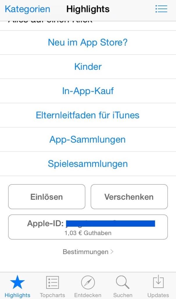 iPhone Promocode einlösen